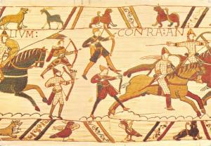 Postcard Bayeux Tapestry, Norman Archers and Horseman Launch the Attack #635