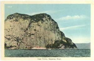 Cape Trinity, Saguenay River & Steamer, PQ, Quebec ,Canada, White border