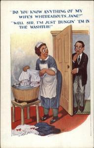 Maid Washing Underwear - Embarassed Husband c1915 Postcard rpx