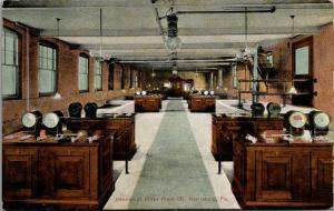 Harrisburg Pennsylvania~Water Filter Plant Interior~Office Desks~Gauges~c1910 PC