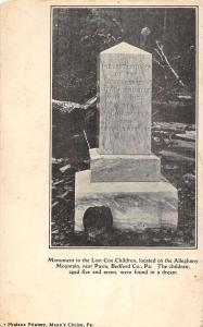 Pavia Pennsylvania Lost Cox Children Monument Antique Postcard K83593