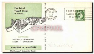 Letter Canada Sefacan Automatic segregator Winniped Manitoba Tagged stamps Ja...