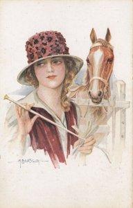 ART DECO ; BERTIGLIA ; Woman & Horse, 1910-30s