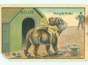 Pre-Linen Comic DOG SPOTS THE MAILMAN AB9347