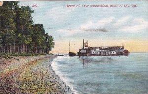 Steamship, Scene on Lake Winnebago, Fond Du Lac, Wisconsin, 1910 PU