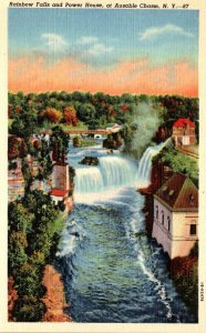 New York Ausable Chasm Rainbow Falls and Power House Curteich