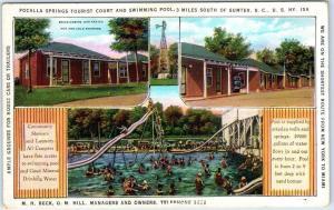 Sumter, South Carolina Postcard POCALLA TOURIST CAMP Roadside Pool Scene Linen