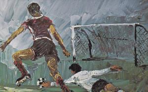 Morris Katz Painting   Pan Am Olympics Puerto Rico  Soccer