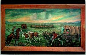 Fargo, North Dakota Postcard Mural in Pioneer Mutual Life Insurance Bldg. - 1968