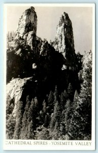RPPC YOSEMITE NATIONAL PARK, CA ~  CATHEDRAL SPIRES  c1910s  Postcard