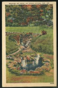 Arkansas Hot Springs National Park Miniature Springs AR Linen Postcard 1945