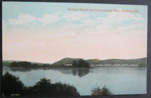 Packers Island and Susquehanna River Sunbury PA  Divided Back