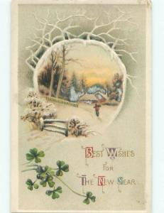 Divided-Back NEW YEAR SCENE Great Postcard AA2183