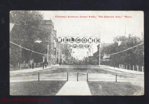 GREAT FALLS MONTANA CENTRAL AVENUE BPOE DOWNTOWN STREET OLD POSTCARD