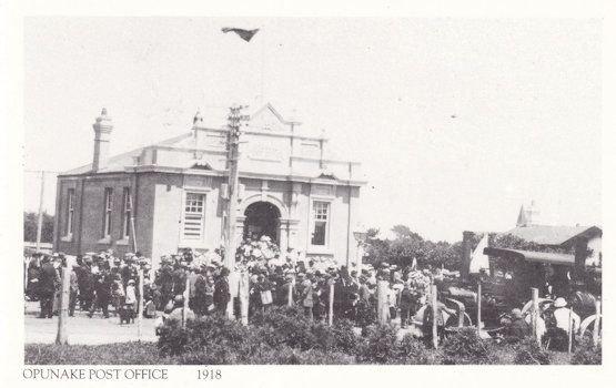 Opunake Taranaki Post Office in 1918 During WW1 New Zealand Postcard