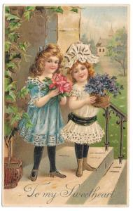 To My Sweetheart Two Pretty Girls 1907 Valentine Postcard