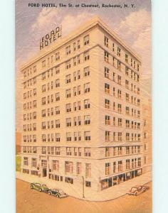 Unused Linen-Like OLD CARS & FORD HOTEL Rochester New York NY t0631