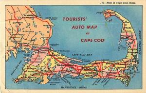 Linen of Tourists' Auto Map Card of Cape Cod 1960