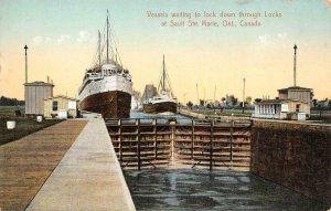 Vessels, Locks at Sault Ste. Marie, Ontario Steamships c1910s Vintage Postcard