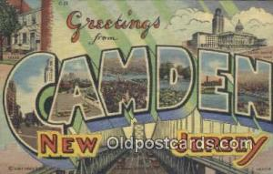 Camden, New Jersey, USA Large Letter Town Postcard Post Card Old Vintage Anti...