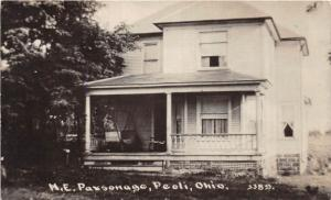E67/ Peoli Ohio RPPC Postcard c1910 Tuscarawas ME Church Parsonage Cy Young Town