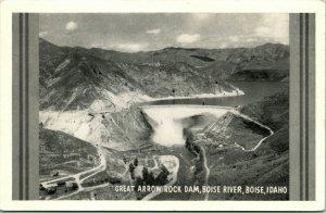 Vtg Cartolina 1940s Great Freccia Rock Dam Bird's Eye Vista Boise Idaho Id