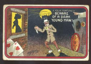 BEWARE OF A DARK YOUNG MAK BLACK AMERICANA BLACK VINTAGE COMIC POSTCARD