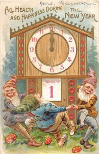 New Year greetings elves dancing around clock with calendar antique pc (Y2260)