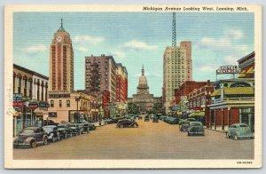 Lansing MI~Michigan Avenue~Hotel Wentworth~Clock Tower~Bargain Sale~1940 Linen