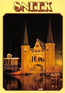 Netherlands Sneek Gate Nigth view Harbour Boats Bateaux