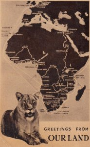 Lion & Map of Africa , Greetings from Our Land , 1920-30s