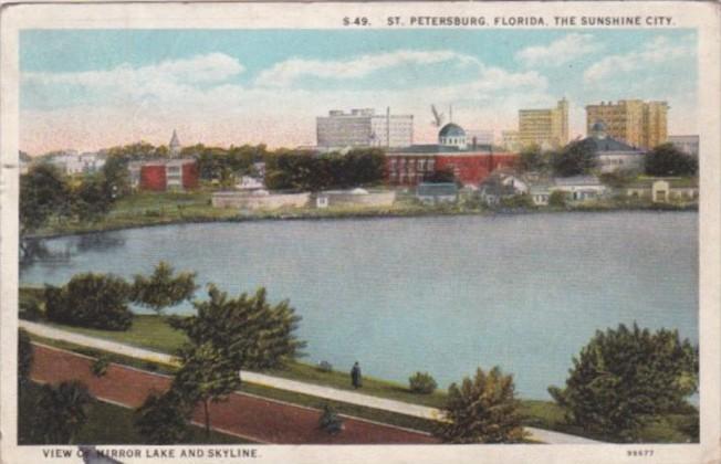 Florida St Petersburg View Of Mirror Lake and Skyline 1925 Curteich