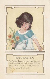 EASTER, 1900-10s; Girl holding flowers and watching white bunnies, Poem