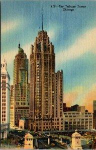 vintage The Tribune Tower & Michigan Ave Bridge Chicago Illinois postcard