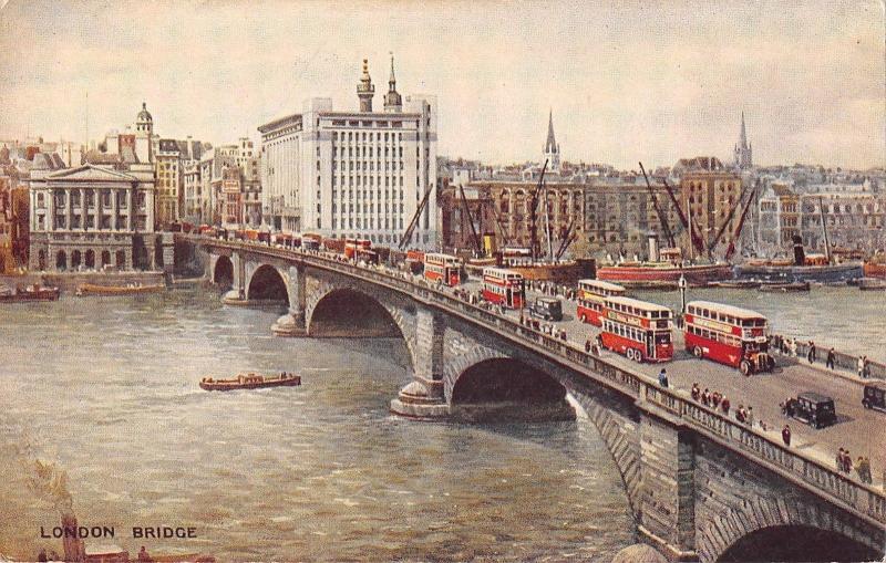 BR93643 london bridge double decker bus   uk