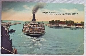 Boat Ship Steamship Benton Harbor Michigan SS Graham & Morton Steamer Postcard