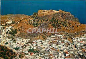 Modern Postcard Lindos Aerial view