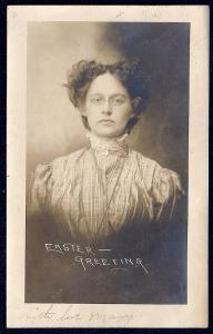 Lady in Vintage Clothes Real Photo postcard used c1910
