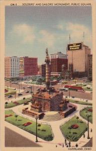 Ohio Cleveland Soldiers And Sailors Monument Public Square 1946