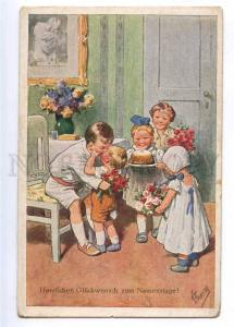 190001 Congratulations Kids Kiss Roses by FEIERTAG Vintage PC