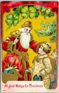 Vintage 1910s CHRISTMAS Postcard SANTA CLAUS Toys Children All Good Wishes