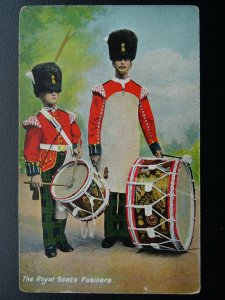 Scotland ROYAL SCOTS FUSILIERS Drummers - Old Postcard by E. Gordon Smith