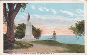 New York Champlain Statue On Lake CHamplain From PLattsburg