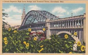 Ohio Cleveland Detroit Suprior High Level Bridge and Terminal Tower