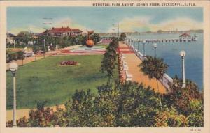 Florida Jacksonville Memorial Park and St Johns River 1940 Curteich