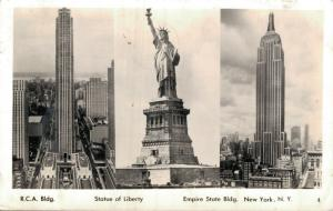 USA Statue of Liberty Empire state building RCA buidling RPPC 01.77