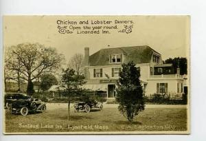 Lynnfield MA Suntaug Lake Drive-In RPPC Postcard