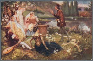 Old Postcard Giovanni Boccaccio Recites his Poems in Park ~ by S. Postiglione