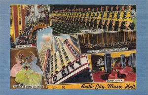 6 Scenes from Radio City Music Hall, New York, NY, Early Linen Postcard, Unused