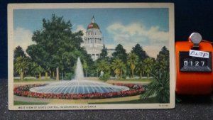 STD Vintage West View of State Capitol Sacramento California Posted Modesto 1939